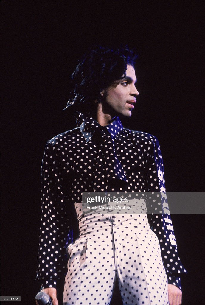 American singer and songwriter Prince performs in concert wearing a black and white polkadot outfit Philadelphia Pennsylvania October 18 1988
