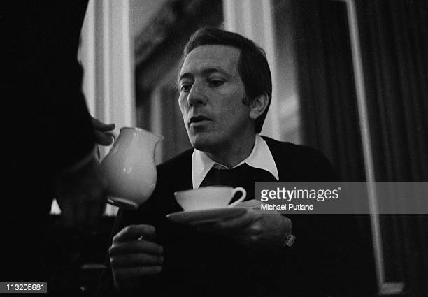 American singer Andy Williams taking tea at the Savoy Hotel in London on 7th November 1970