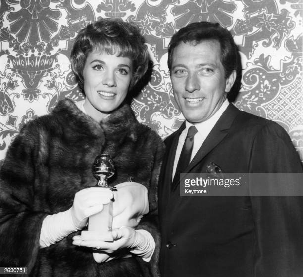 American singer Andy Williams with British singer and actress Julie Andrews They are in Hollywood for the Golden Globe Awards where Julie has been...