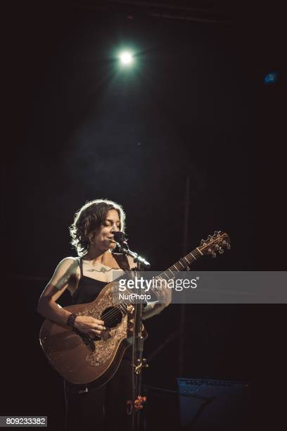 American singer Ani Di Franco performs at the Villa Ada Festival in Rome on July 4 2017