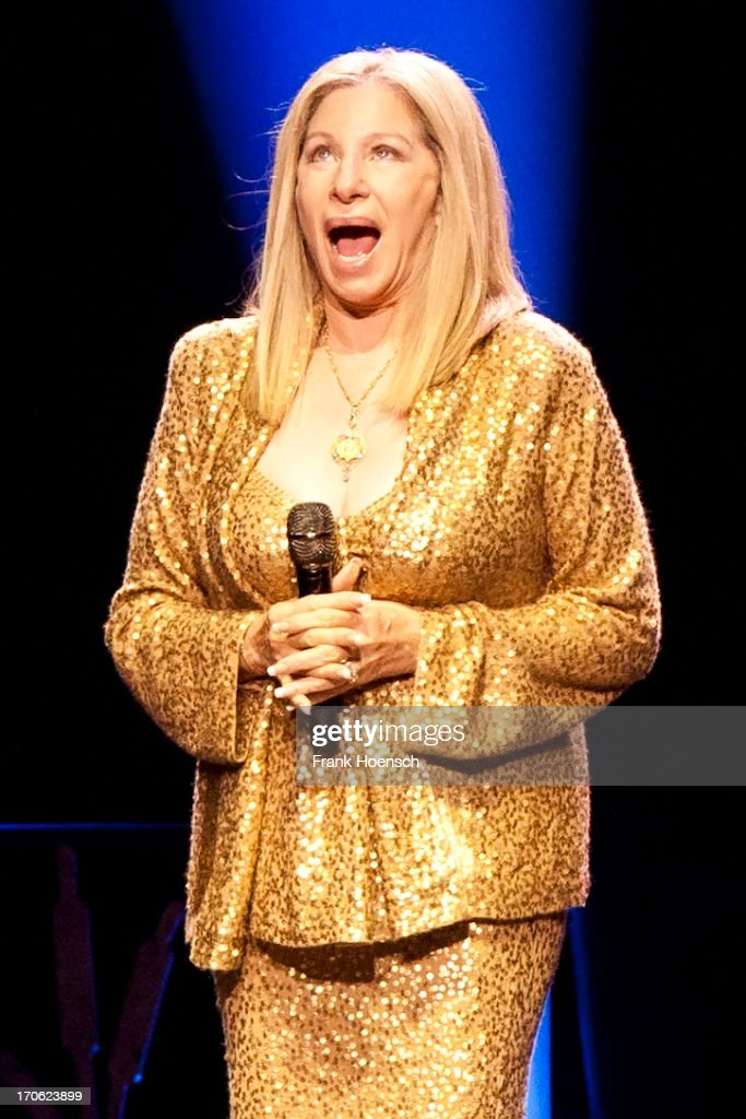 American singer <a gi-track='captionPersonalityLinkClicked' href=/galleries/search?phrase=Barbra+Streisand&family=editorial&specificpeople=200745 ng-click='$event.stopPropagation()'>Barbra Streisand</a> performs live during a concert at the O2 World on June 15, 2013 in Berlin, Germany.