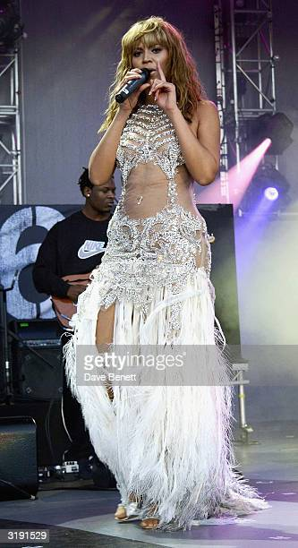 American singer Beyonce Knowles performs on stage as part of the 'Give 1 Minute to AIDS' concert for The Nelson Mandela Foundation's 46664 campaign...