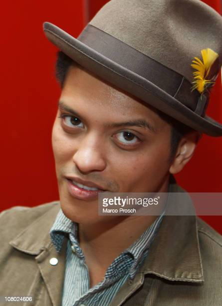 American singer Bruno Mars poses during a portrait session on January 13 2011 in Berlin Germany