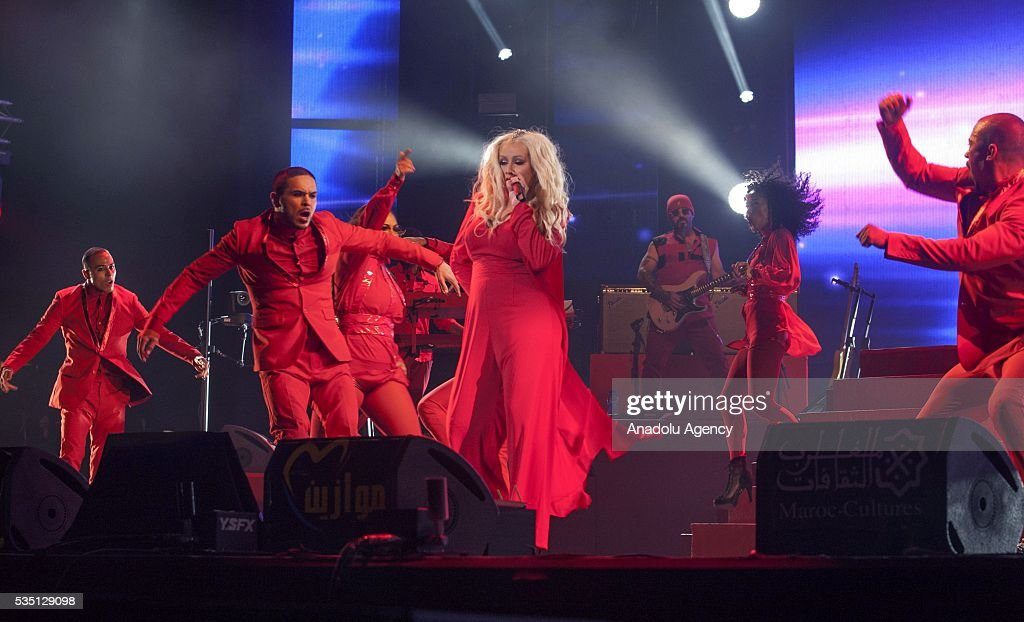 American singer Christina Aguilera, performs during the 15th International Mawazine Music festival at OLM Souissi in Rabat, Morocco on May 28, 2016.