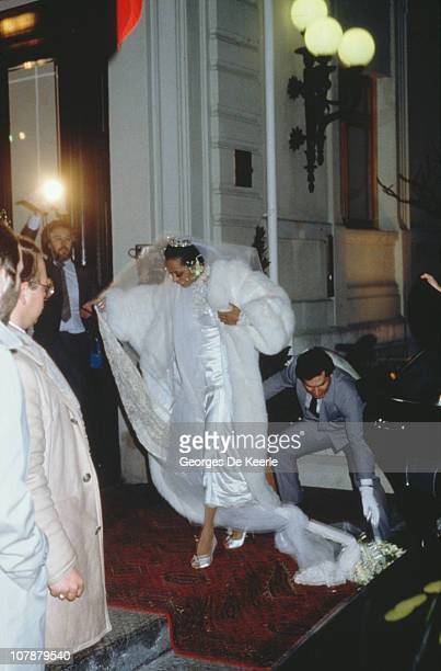 American singer Diana Ross during her church wedding to Norwegian businessman Arne Naess Jr in Romainmotier Switzerland 1st February 1986 The couple...