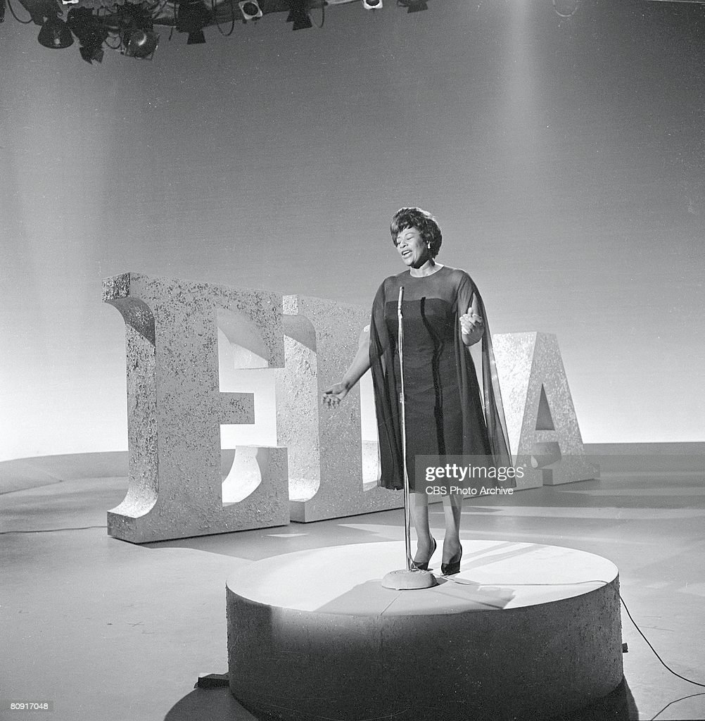 American singer <a gi-track='captionPersonalityLinkClicked' href=/galleries/search?phrase=Ella+Fitzgerald&family=editorial&specificpeople=90780 ng-click='$event.stopPropagation()'>Ella Fitzgerald</a> (1917 - 1996) performs next to a set of giant letters that spell her first name on an episode of 'The Ed Sullivan Show,' New York, New York, May 5, 1963.