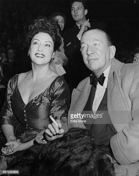 American singer Ethel Merman and English playwright and director Noël Coward attend an election rally in support of Republican candidate Dwight David...