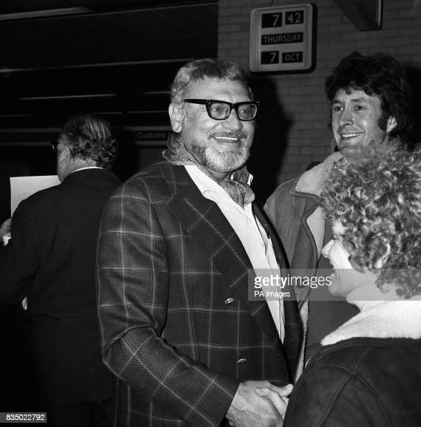 American singer Frankie Laine arriving at Heathrow Airport for his concert tour of Britain
