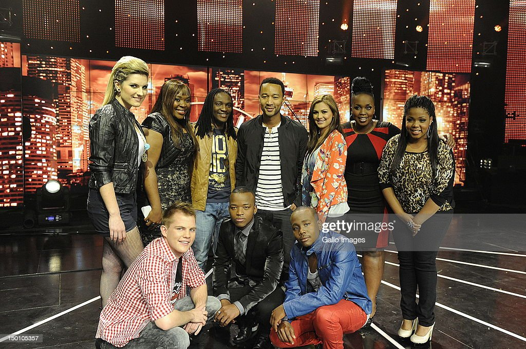 American singer <a gi-track='captionPersonalityLinkClicked' href=/galleries/search?phrase=John+Legend&family=editorial&specificpeople=201468 ng-click='$event.stopPropagation()'>John Legend</a> appears with the SA Idols contestants on August 10, 2012 in Johannesburg, South Africa. The nine-time Grammy Award winner will perform a special Women's Month one-night show.