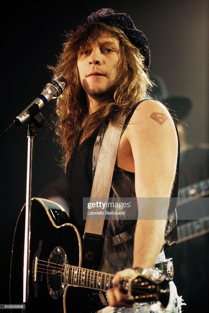 American singer Jon Bon Jovi on stage at the San Remo Festival