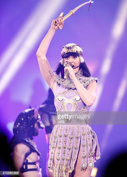 American singer Katy Perry performs on the stage during her 'Prismatic' world tour concert at MercedesBenz Arena on April 21 2015 in Shanghai China