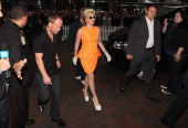 American singer Lady Gaga arrives at the Stamford Plaza on June 5 2012 in Auckland New Zealand