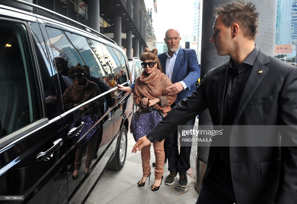 American singer Lady Gaga leaves her hotel on August 25, 2012 in Tallin, where she is to give a concert as part of her European tour.