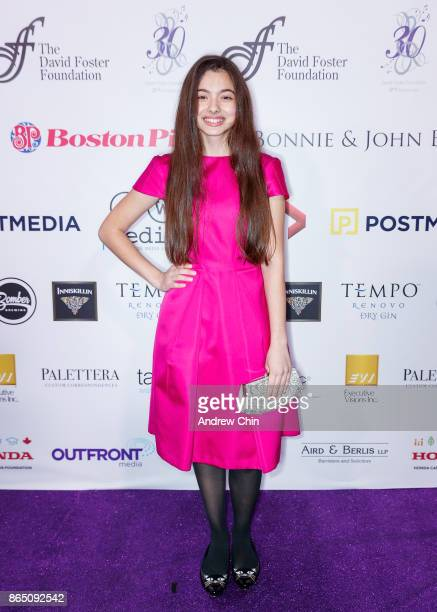 American singer Laura Bretan arrives for the David Foster Foundation Gala at Rogers Arena on October 21 2017 in Vancouver Canada