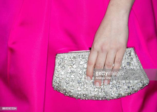 American singer Laura Bretan clutch detail arrives for the David Foster Foundation Gala at Rogers Arena on October 21 2017 in Vancouver Canada