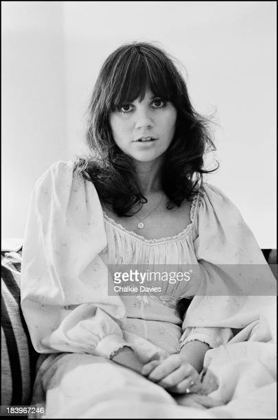 American singer Linda Ronstadt at the Park Lane Hotel in London 1976