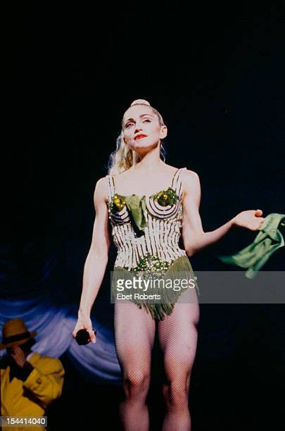 American singer Madonna on stage during her 'Blonde Ambition' tour June 1990