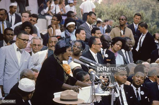 American singer Mahalia Jackson sings at the March on Washington for Freedom and Jobs on the steps of the Lincoln Memorial Washington DC August 28...