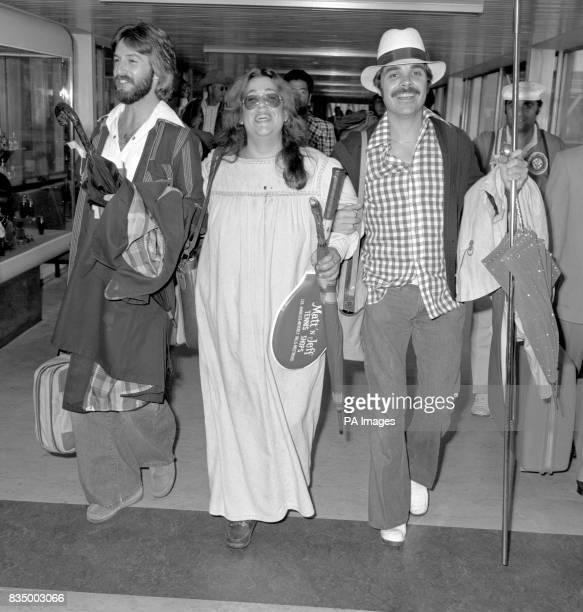 American singer 'Mama' Cass Elliott arrives at Heathrow Airport accompanied by Mervyn Laird and Walter Painter a choreographer