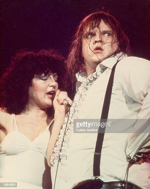 American singer Meat Loaf performs the duet 'Paradise By The Dashboard Light' on stage with singer Karla Devito Circa 1978