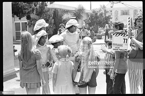 American singer Michael Jackson and the Jackson Five meet the Brady Bunch at the ABC Studios 9th July 1971