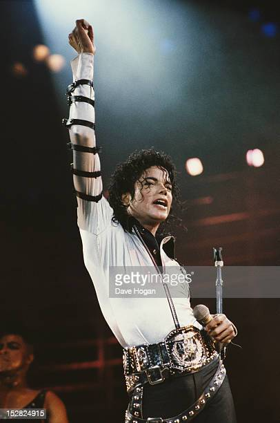 American singer Michael Jackson at Wembley Stadium during his BAD concert tour 15th July 1988