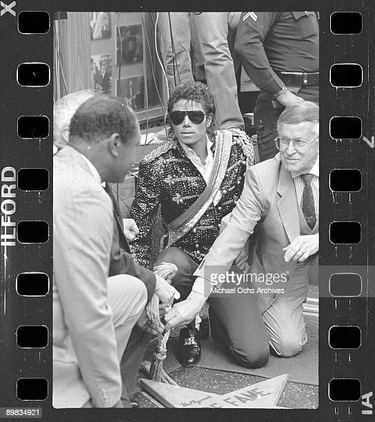 American singer Michael Jackson is granted a star on the Hollywood Walk of Fame Los Angeles 20th November 1984