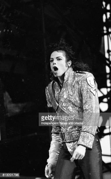 American singer Michael Jackson performing at Lansdowne Road during his Dangerous World Tour Dublin