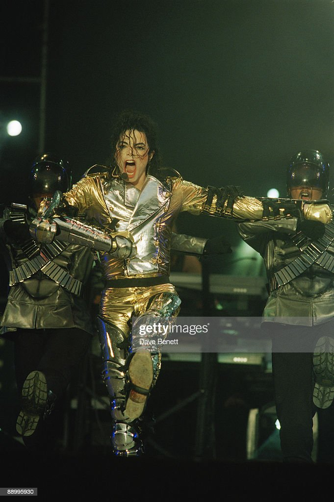 American singer Michael Jackson (1958 - 2009) performing at Wembley Stadium, London, during the HIStory World Tour, 15th July 1997.