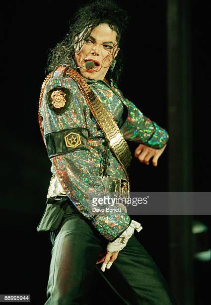 American singer Michael Jackson performing at Wembley Stadium London on his 'Dangerous' World Tour 30th July 1992
