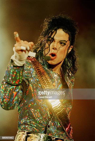 American singer Michael Jackson performing at Wembley Stadium London on his 'Dangerous' World Tour 30th July 1992