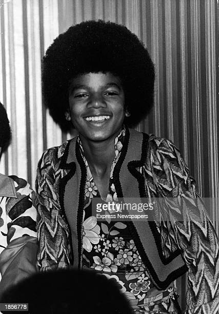 American singer Michael Jackson poses at a hotel while on tour with Jackson 5 London England November 1972