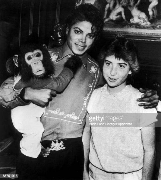 American singer Michael Jackson poses with 14yearold fan Donna Ashlock and his pet chimpanzee Bubbles at the Neverland Ranch in Santa Barbara County...