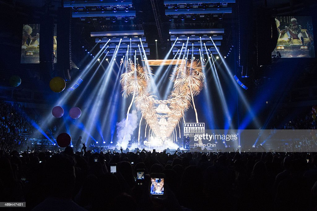 American singer Miley Cyrus opens her 'Bangerz Tour' at Pepsi Live at Rogers Arena on February 14, 2014 in Vancouver, Canada.