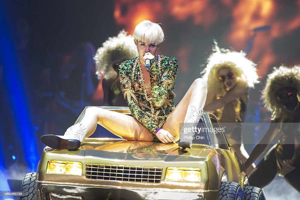 American singer <a gi-track='captionPersonalityLinkClicked' href=/galleries/search?phrase=Miley+Cyrus&family=editorial&specificpeople=3973523 ng-click='$event.stopPropagation()'>Miley Cyrus</a> opens her 'Bangerz Tour' at Pepsi Live at Rogers Arena on February 14, 2014 in Vancouver, Canada.