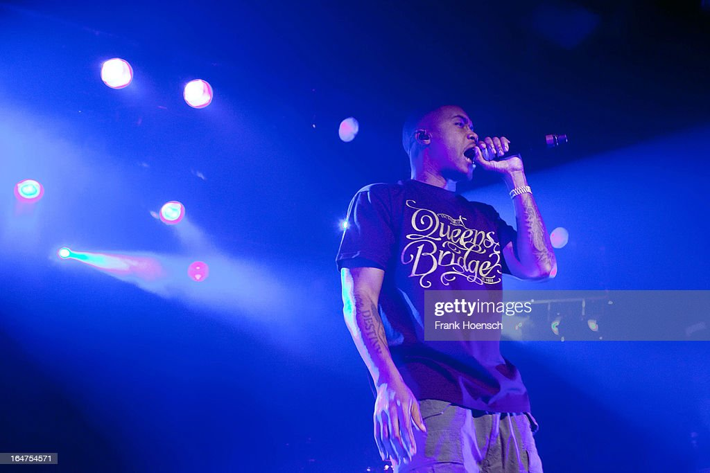 American singer NAS performs during a concert at the Astra on March 27, 2013 in Berlin, Germany.