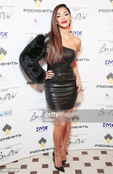 American singer Nicole Scherzinger attends ceremony of presentation BraVo international music awards at the Bolshoi Theatre on March 18 2017 in...