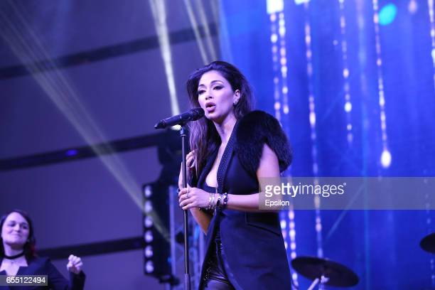 American singer Nicole Scherzinger performs at afterparty of presentation BraVo international music awards at the 'Mir' Banquet room on March 18 2017...