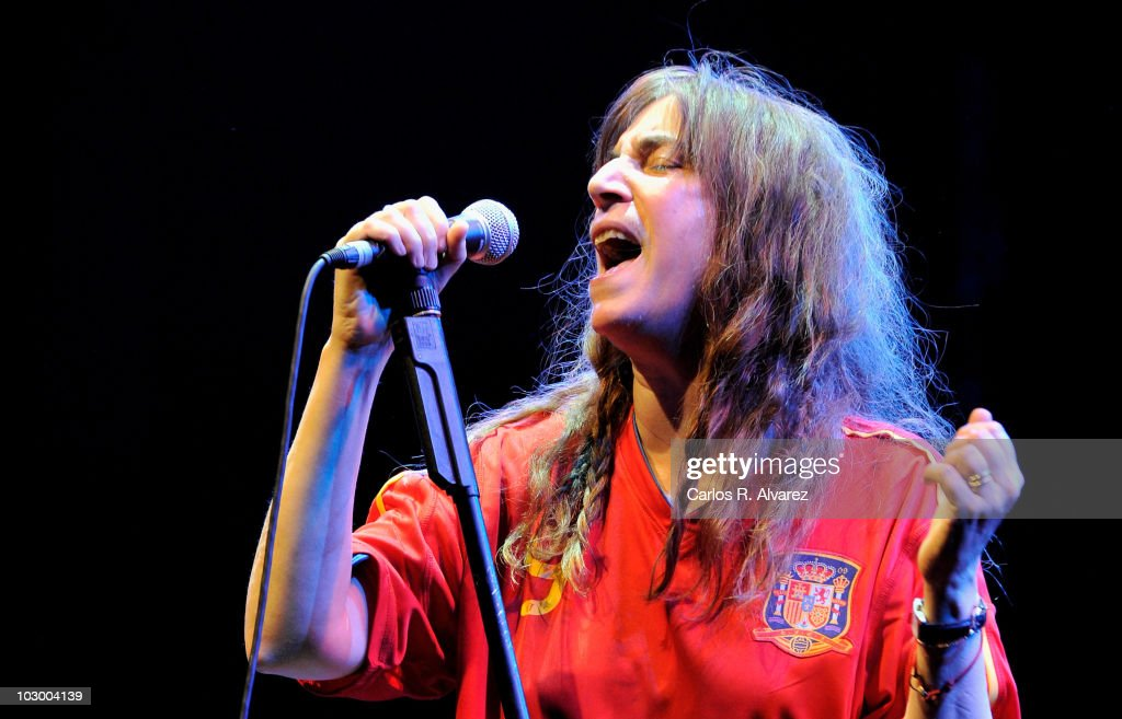 American singer Patti Smith performs in concert during 'Veranos de la Villa' music festival at Puerta del Angel stage on July 20, 2010 in Madrid, Spain.