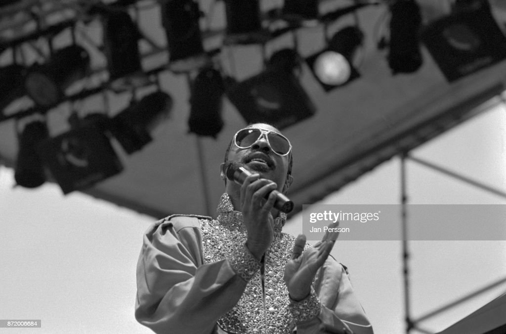 American singer pianist and composer Stevie Wonder performing in Malmo Sweden August 1984.