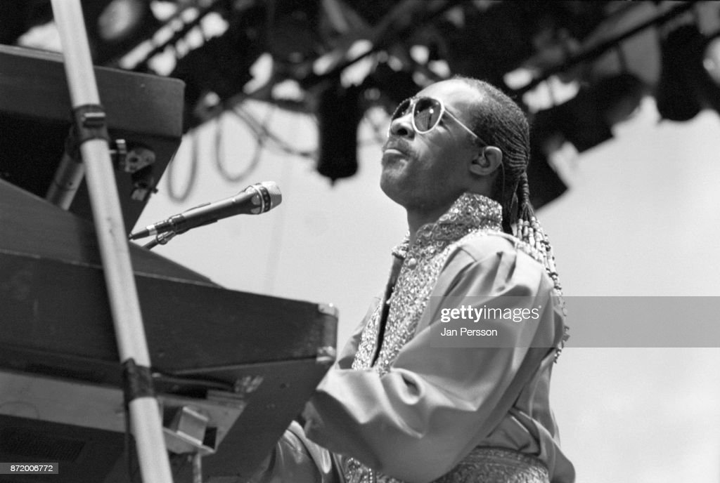 American singer pianist and composer Stevie Wonder performing in Malmo, Sweden August 1984.