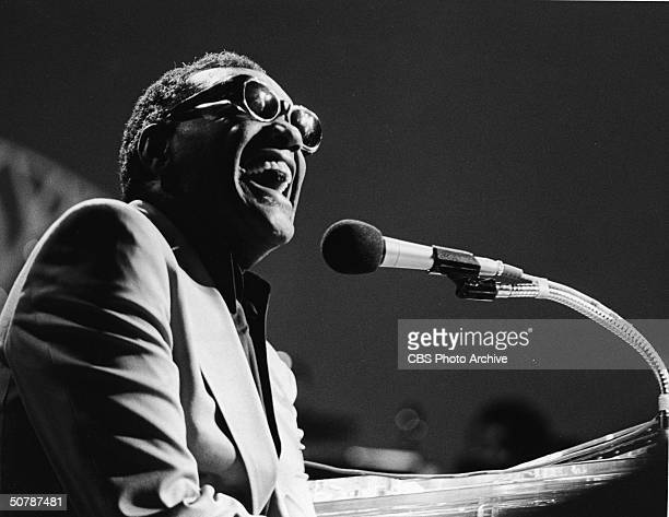 American singer pianist and songwriter Ray Charles performs as a guest on the TV special 'A Special Kenny Rogers' April 12 1979