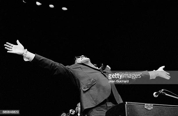 American singer Ray Charles performs at the Olympia concert hall in Paris