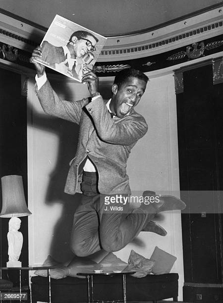 American singer Sammy Davis Jnr at the Empire Suite of the Mayfair Hotel in London for the launch of 'Reprise' a company backed by Frank Sinatra in...