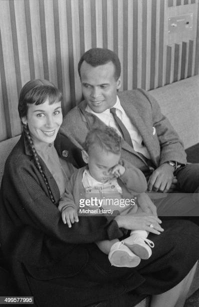 American singer songwriter and actor Harry Belafonte with his second wife Julie Robinson and their son David 30th July 1958