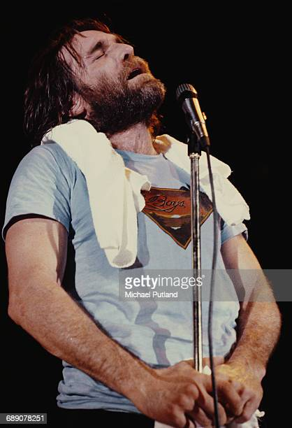 American singer songwriter and drummer Dennis Wilson performing with the Beach Boys Oslo Norway 1982
