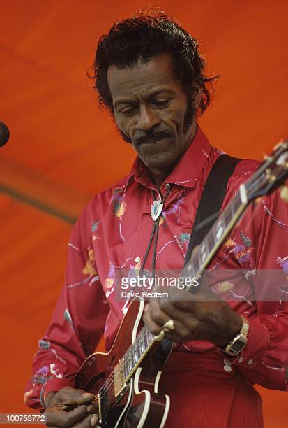 American singer and guitarist Chuck Berry performs on stage at the New Orleans Jazz and Heritage Festival in New Orleans Louisiana on May 02 1982