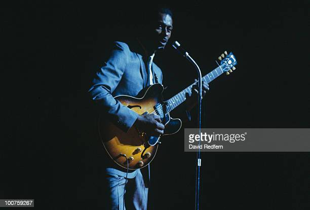 American singer and guitarist Chuck Berry performs on stage at the Hammersmith Odeon in London England in February 1965