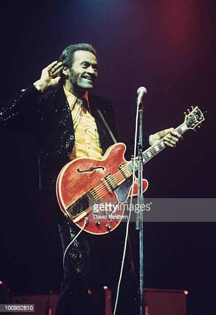 American singer and guitarist Chuck Berry performs on stage at the New Victoria theatre in London England on May 21 1976