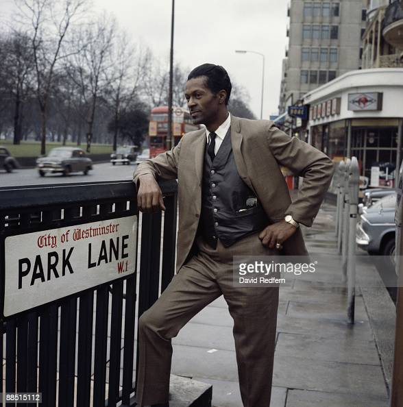 American musician Chuck Berry poses on Park Lane in London in 1965